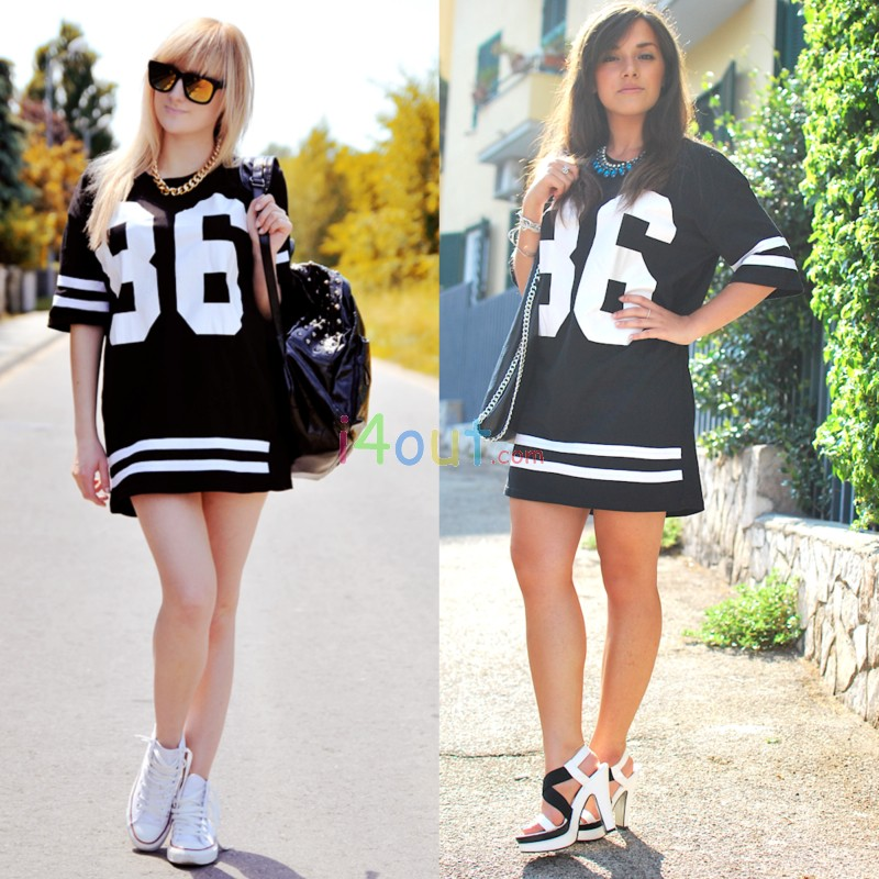 Woman Strips 86 Black Celeb American Baseball Tee T-shirt Top Varsity