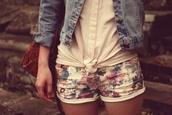 shorts,floral,denim,cute,jacket,blouse