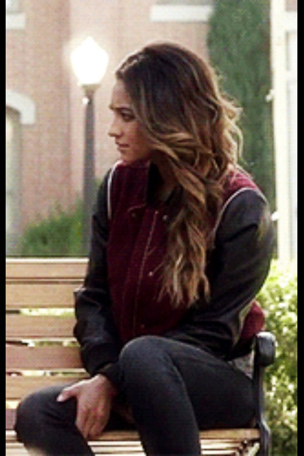 jacket shay mitchell burgundy