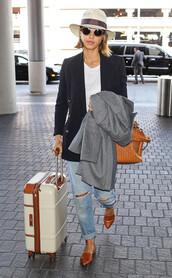 shoes,flats,ballet flats,jessica alba,jacket,hat,suitcase,bag