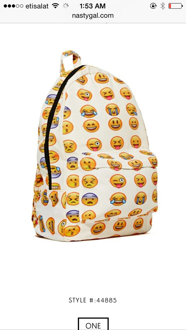 bag an emoji bag for school emoji print back to school backpack hat emoji print emoji shirt fashion emoji back pack school bag