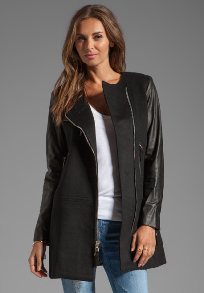 Milly Milly Florentine Wool Melton Chloe Leather Sleeve Coat in Black in Black | Lyst