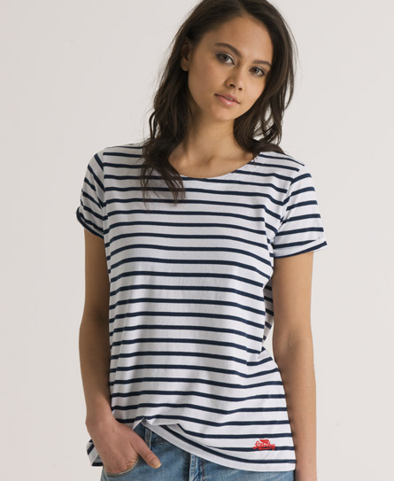 Womens - Slouch Stripe T-shirt in Optic/imperial Navy | Superdry