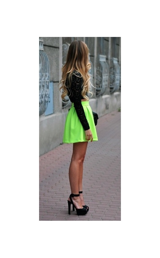 Uba scuba neon skater skirt in lime green