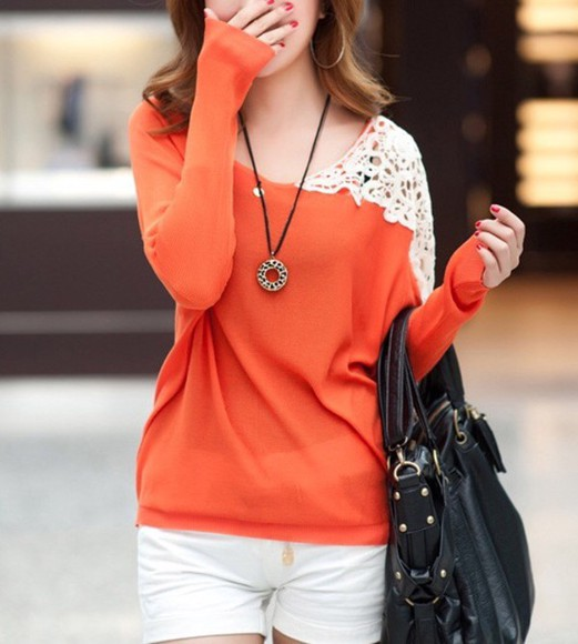 coral girly blouse cute lace cami lace up sweater top t-shirt fall outfits fashion kawaii clothes