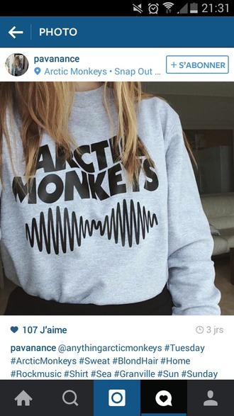 top artic monkeys pull sweater sweat grey grey sweater