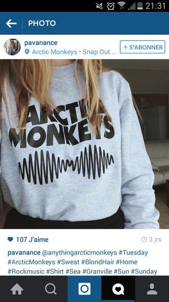 top arctic monkeys pull sweater sweat grey grey sweater