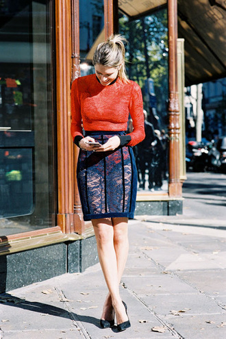 vanessa jackman blogger bodysuit red lace lace skirt navy