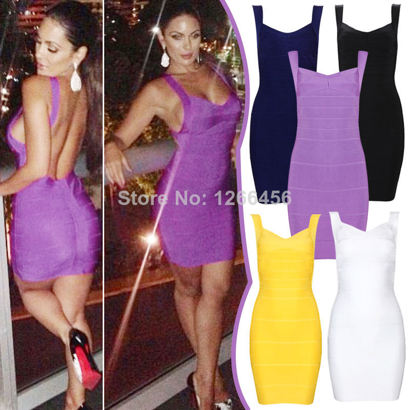 Aliexpress.com : Buy Summer Hot&Sexy Rayon Knitted Big Backless Spaghetti Strap 2014 Fashion Women Party Dress Yellow Purple Simple Bandage Dress from Reliable dress slacks suppliers on Lady Go Fashion Shop