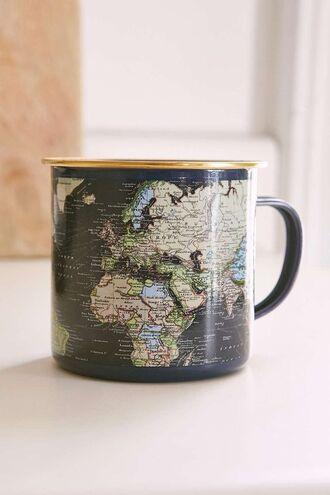 home accessory mug map cup coffe coffee tea black world globe vintage hipster retro home decor