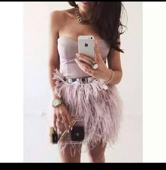 belt girl dress feathers purple dress belted dress fashion