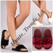 shoes,furslides,fur slides,slide shoes,cute,girly,trendy,love,black,white,sandals,slippers,slide slippers,red,burgundy,fur,fur slippers,fluffy nike slides,fluffy slides,faux fur
