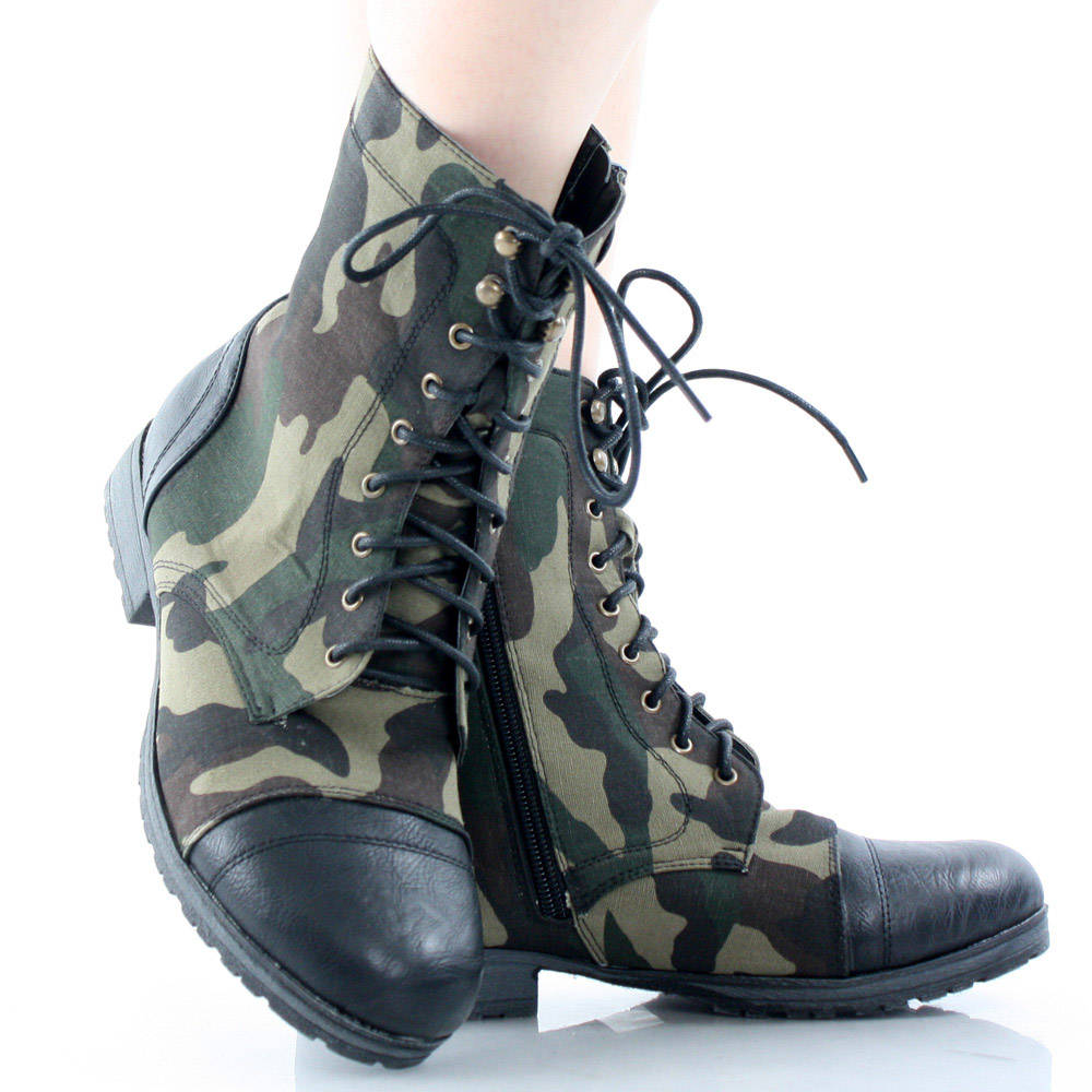 Black Camouflage Camo Combat Lace Up Military Womens Flat Ankle Boots 8 | eBay