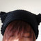 Cat ear beanie in black, crochet hat, women hat, cat ears, winter accessories, hand crocheted hat, unique 2 sides hat,