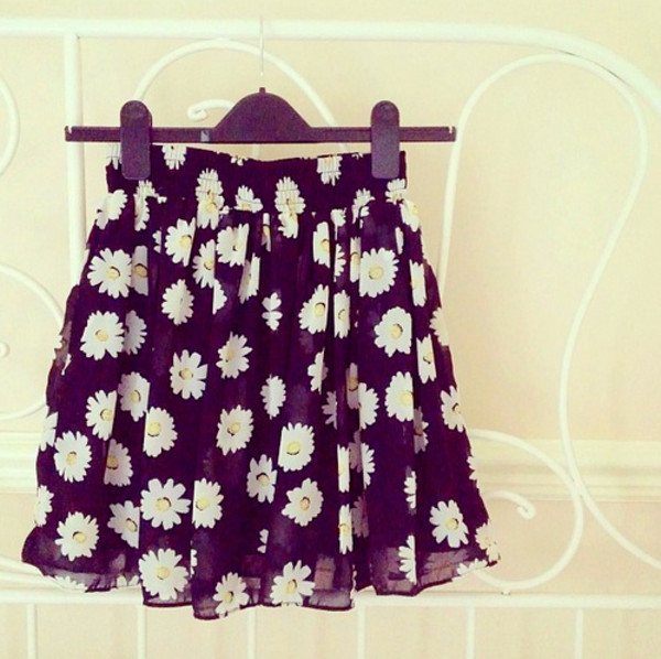skirt flowers floral floral skirt flowy daisy skater skirt