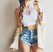blouse,white,cardigan,shorts,shirt,tank top,top,crop tops embrodering,crop tops,bralette,bralet top corset bra,High waisted shorts,high waisted denim shorts,blue,bracelets,ring,jewelry,white top,white t-shirt,t-shirt,high tops,jeans,denim,beige,lace,underwear,jewels,coat,sweater,tight,colorful,brand,boho,festival,fashion,summer outfits,white crop tops,denim shorts,skinny,classy,bra,jacket,skinny pants,style,high waisted jeans,ripped jeans,ripped shorts,bustier crop top,summer shorts,ripped,light blue,summer,straps,cute,cut offs,summer top,outfit,mode,spring,halter neck,cut-out,crochet,halter top,beach,halter tank,crochet top,earphones,brown,cute cardigan,cozy,stylish