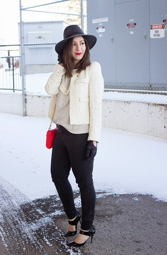 adventures in fashion blogger jacket hat gloves make-up red bag off-white