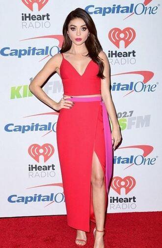 skirt wrap skirt red top sandals sarah hyland crop tops