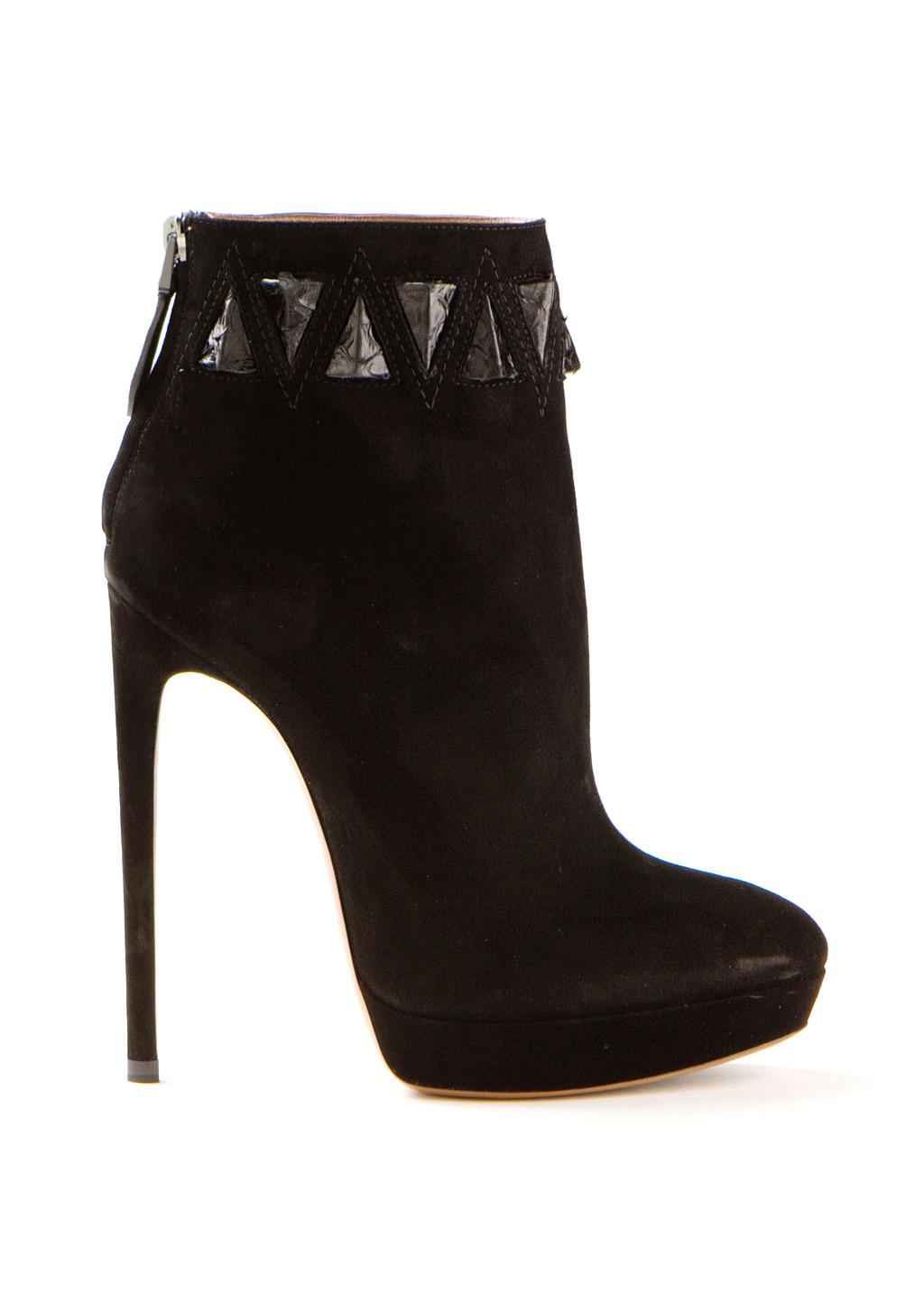 Azzedine alaïa ankle boots :: azzedine alaïa black chamois ankle boots embellished with python yokes