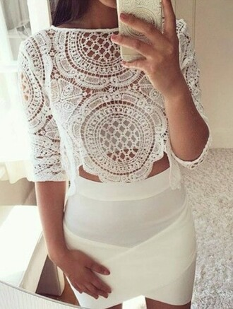 blouse white lace top lace crop tops spring outfits spring skirt