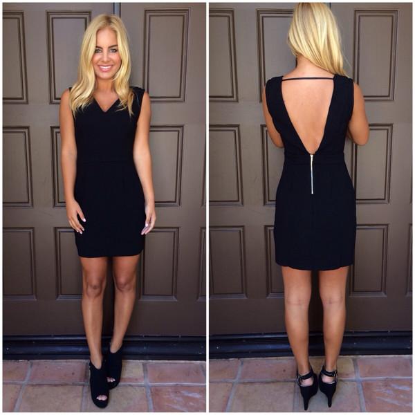 Black Open Back Bodycon Dress