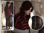 jeans,pretty little liars,aria montgomery,lucy hale,black jeans,sweater,shirt,clothes,fashion,celebrity,blouse,ripped leggings,oversized sweater,cute outfits,striped sweater
