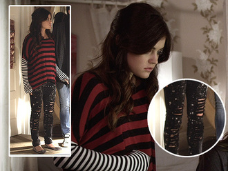 jeans pretty little liars aria montgomery lucy hale black jeans sweater shirt clothes fashion celebrity blouse ripped leggings oversized sweater cute outfits striped sweater