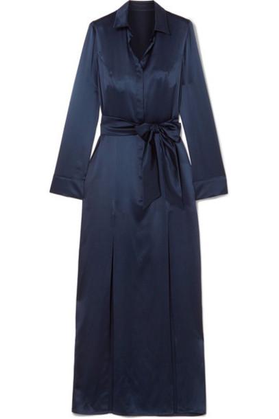 Galvan dress satin dress navy silk satin