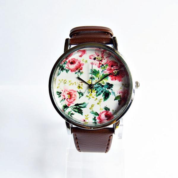 jewels floral watch leather watch handmade freeforme watch