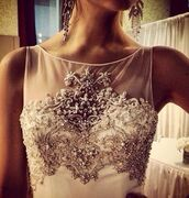 dress,clothes,prom dress,maxi dress,white dress,chic,cute,glitz,classy,glamour,clubwear,wedding clothes,glitter,glitter dress,sequins,beaded,sparkle,special occasion,wedding,blouse,prom,long dress,top,wedding dress,earrings