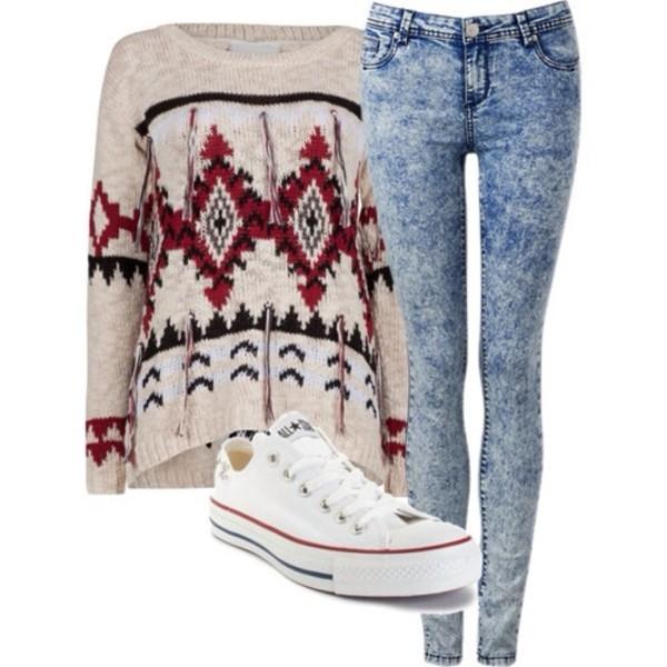 pants jeans acid wash sweater shoes converse