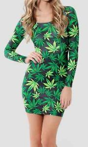 WOMENS HIPSTER LONG SLEEVE DRESS / CANNABIS WEED LEAF PRINT/ URBAN FRESH APPAREL | eBay
