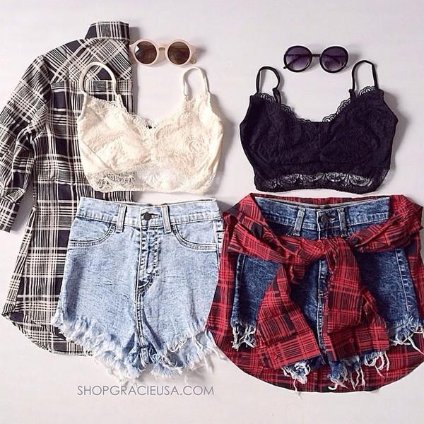 denim shorts ripped jeans plaid shirt plaid button down sunglasses hipster grunge top