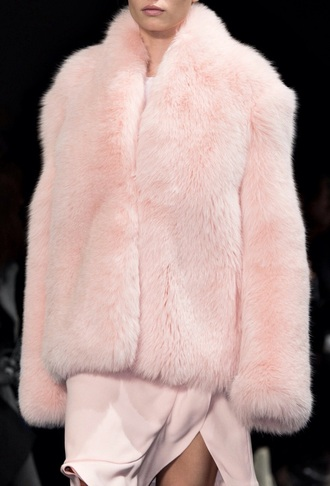 coat peach fur coat all pink everything all pink outfit pink coat fur coat dress pink dress