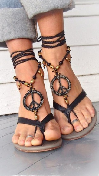 sandals peace homemade anything similliar something similliar? beach sandals holiday style vacation beads embellishments leather straps must have