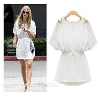 dress white dress open shoulder floral mini dress summer dress