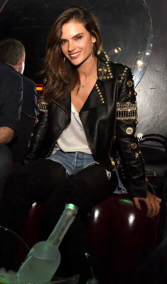 jacket biker jacket alessandra ambrosio fall outfits