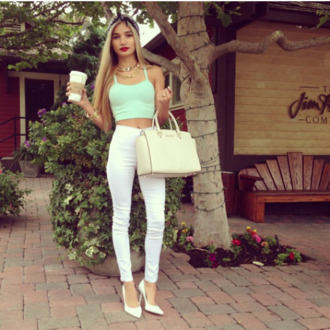 jeans shirt t-shirt pants highwaisted jeans high waisted jeans white mint bag shoes cute high heels pia mia perez jewlery jewels tank top red lime sunday jeggings leggings