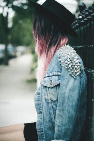 jacket denim jacket denim studs hat sexy spikes hipster punk embellished denim embellished jacket embellished blue jacket black hat