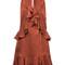 Cinq a sept - ruffled jacquard dress - women - silk/polyester - 0, yellow/orange, silk/polyester