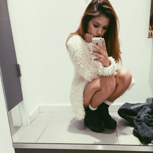 Shoes: black shoes, fuzzy sweater, dress, fluffy, stylish, trendy ...