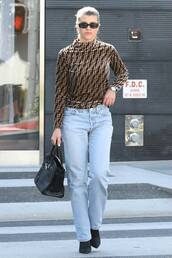 top,fall outfits,long sleeves,sofia richie,streetstyle,denim