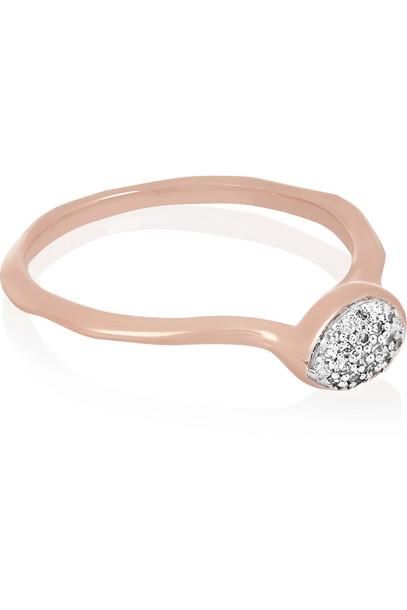 Monica Vinader Siren Rose Gold-Plated Diamond Ring
