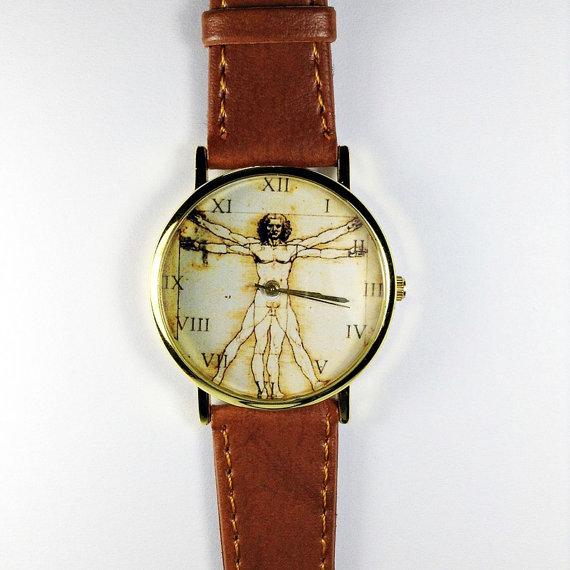 Anatomy Watch, Da Vinci, Vitruvian Man, Vintage Style Leather Watch, Mens Watch, Women Watches, Boyfriend Watch, Tan,