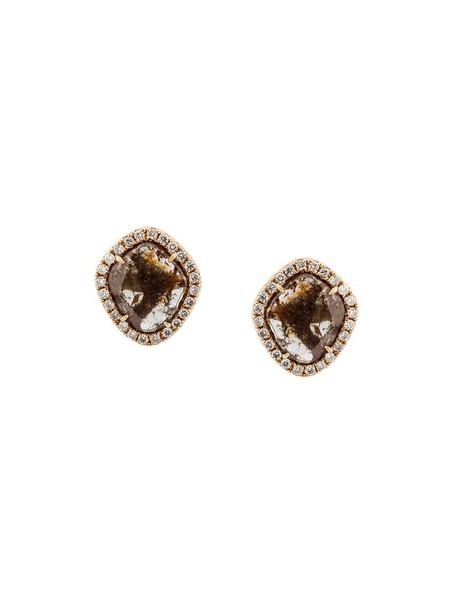 Saqqara rose gold rose women earrings gold grey metallic jewels