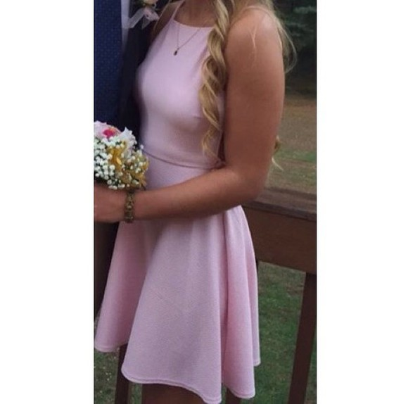 straps light pink dress fit and flare dress high neck homecoming dress