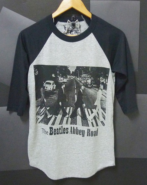 shirt the beatles shirt t-shirt raglan tee baseball tee grey t-shirt abbey road uk shirt women tshirt men tshirt clothes outfit workout shirt