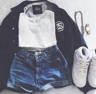 shirt white t-shirt shorts shoes jacket