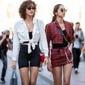 jacket,blazer,shirt,tie shirt,top,pants,sunglasses,bag,gingham