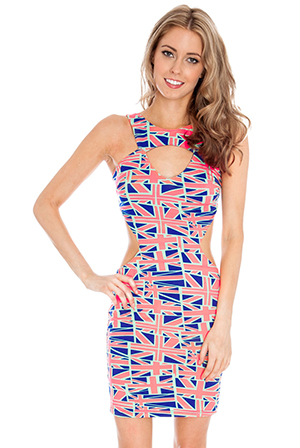 Flag Print Multi Cut Out Mini Dress